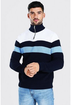 Half Zip Colour Block Chunky Ribbed Jumper, Navy