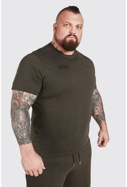 Khaki MAN Active X Beast Front And Back Print T-Shirt