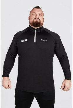 Black MAN Active X Beast Muscle Fit Zip Funnel Neck