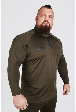 Khaki MAN Active X Beast Muscle Fit Zip Funnel Neck