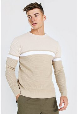 Taupe Colourblock Muscle Fit Crew Neck Jumper