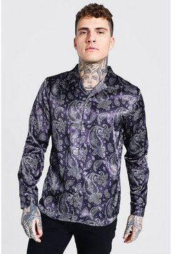 Black Long Sleeve Revere Collar Paisley Satin Shirt