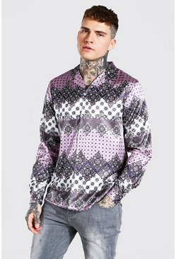 Mauve Long Sleeve Revere Collar Floral Satin Shirt