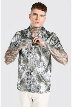 Khaki Short Sleeve Revere Collar Border Print Satin Shirt
