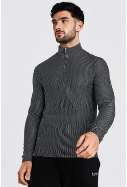 Black Jacquard Knitted Muscle Fit Half Zip Sweater