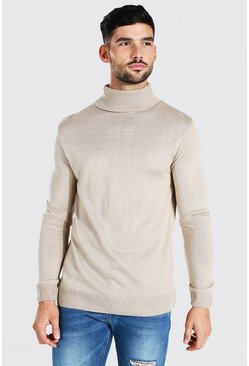 Taupe Regular Fit Roll Neck Jumper