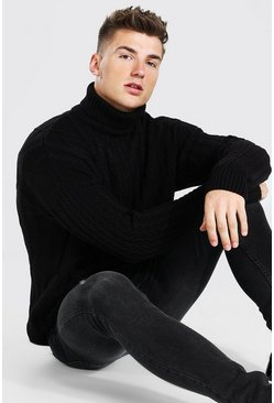 Black Roll Neck Chunky Cable Knit Sweater