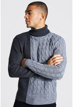 Grey marl Colour Block Chunky Roll Neck Jumper