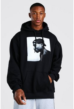 Oversized Tupac Photo License Hoodies, Black