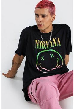 Oversized Nirvana Smile Print T-Shirt, Black