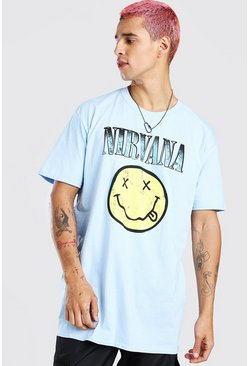Blue Oversized Nirvana Smile Print T-Shirt