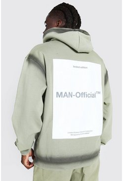 Sweat à capuche oversize à coutures colorées - MAN Official, Khaki