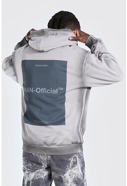 Grey Oversized MAN Official Dyed Seam Back Print Hoodie