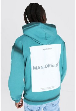 Teal Oversized MAN Official Dyed Seam Back Print Hoodie