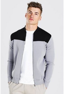 Grey Colour Block Knitted Bomber Jacket