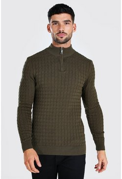 Khaki Half Zip Muscle Fit Cable Knit Sweater