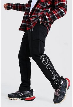 Black Shell Barbed Wire Print Bungee Cord Cargo Trousers