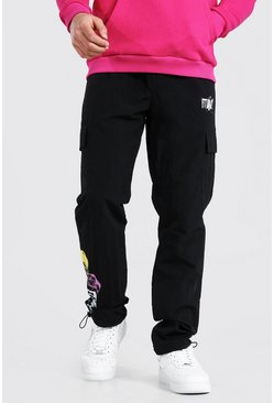 Black Shell MAN Skull Cargo Trouser With Bungee Cord