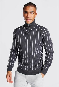 Slate grey Half Zip Funnel Neck Pinstripe Jumper