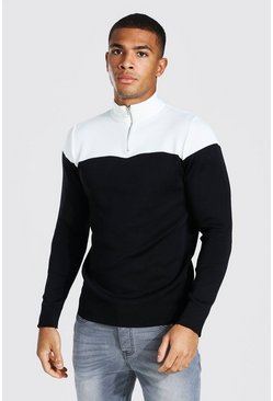 Ecru Half Zip Colour Block Funnel Neck Jumper
