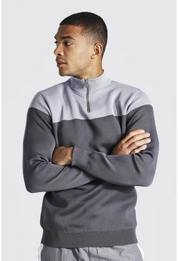 Grey Half Zip Colour Block Funnel Neck Jumper