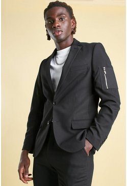 Black Skinny Plain Ma1 Pocket Suit Jacket