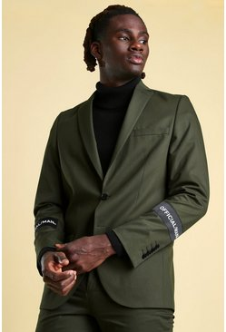 Official MAN Skinny Sleeve Detail Suit Jacket, Khaki