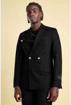 Black Skinny Plain Tab Detail Double Breasted Suit Jacket