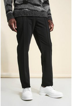 Black Skinny Plain Double Pintuck Suit Pants