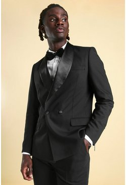 Skinny Double Breasted Tuxedo Suit Jacket, Black