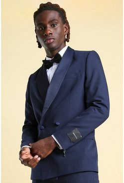 Navy Skinny Double Breasted Tuxedo Suit Jacket