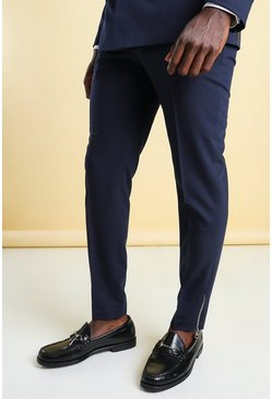 Navy Skinny Tuxedo Suit Trouser With Zips