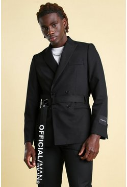 Black Official MAN Skinny Double Breasted Belted Blazer