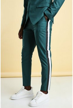 Teal Skinny Side Stripe Cropped Suit Trouser
