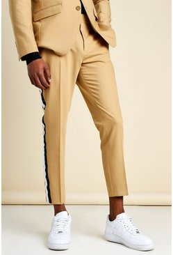 Taupe Skinny Side Stripe Cropped Suit Trouser