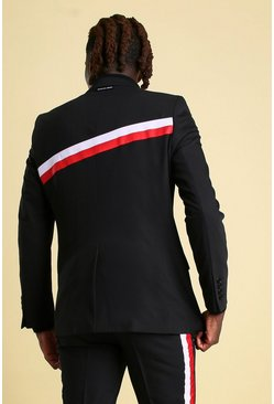 Black Skinny Back Stripe Suit Jacket