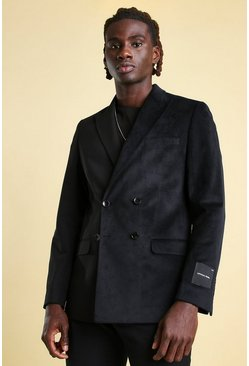 Black Skinny Spliced Velour Double Breasted Blazer