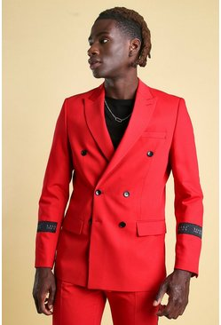 Red MAN Skinny Tab Detail Double Breasted Suit Jacket