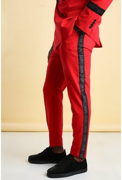 Red MAN Skinny Tape Suit Trouser