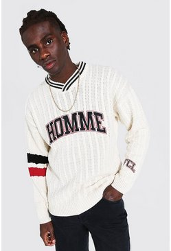 Cream Man Cable Knitted V Neck Varsity Jumper