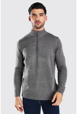 Half Zip Funnel Neck Jumper, Grey