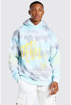 Oversized Official Flame Print Tie Dye Hoodie, Blue