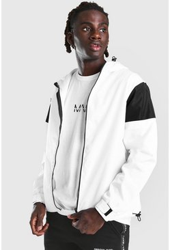 Anorak color block imprimé MAN Official dans le dos, Blanc