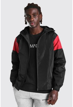 Black MAN Official Centre Backprint Colour Block Cagoule