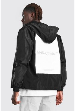 Black All Over Back Print Cagoule