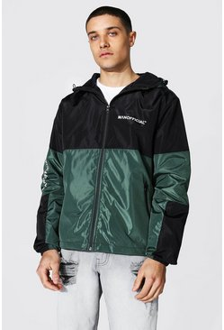Green Spliced Colour Block Cagoule With Sleeve Detail
