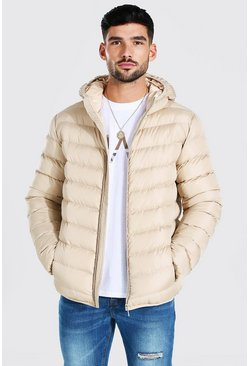 Stone Quilted Zip Through Jacket With Hood