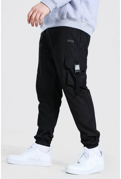 Black Plus Size MAN Dash Shell Buckle Joggers