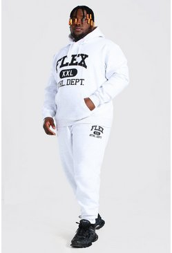 White Plus Size Varsity Print Hooded Tracksuit