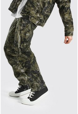 Relaxed Fit Cordhose mit Camouflage-Print, Khaki